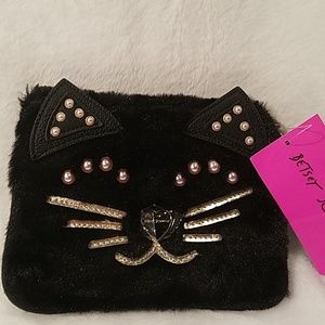Betsey Johnson kitty face wristlet